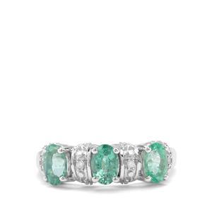 Zambian Emerald & Diamond Sterling Silver Ring ATGW 1.23cts