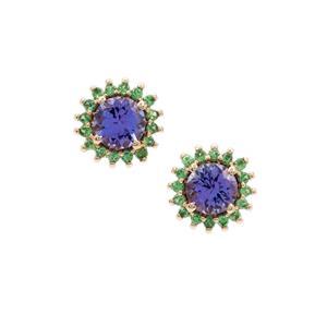 AA Tanzanite & Tsavorite Garnet 9K Gold Earrings ATGW 1.80cts