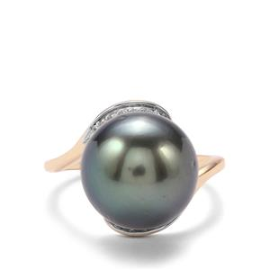 Tahitian Cultured Pearl & White Zircon 10K Gold Ring (13mm)