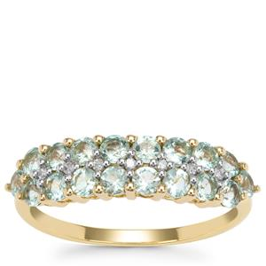 Aquaiba™ Beryl Ring with Diamond in 9K Gold 1.04cts