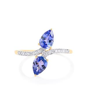 AA Tanzanite Ring with Diamond in 10k Gold 1.52cts