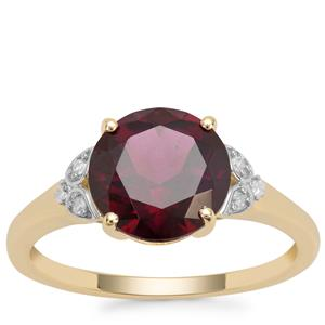 Tocantin Garnet Ring with Diamond in 9K Gold 3.25cts