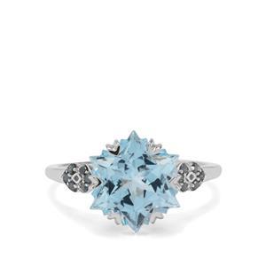 Wobito Snowflake Cut Sky Blue Topaz & Blue Diamond 9K White Gold Ring ATGW 5.55cts