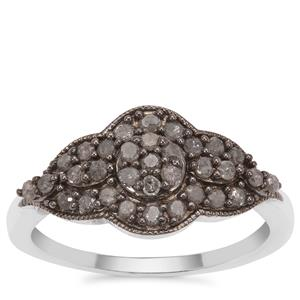 Salt and Pepper Diamond Ring in Sterling Silver 0.51ct