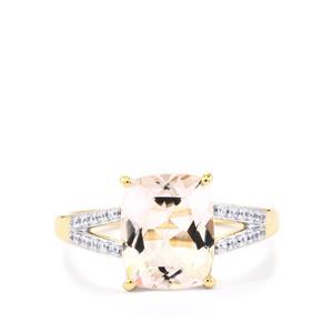 Alto Ligonha Morganite Ring with White Zircon in 10k Gold 2.90cts