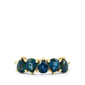 Natural Nigerian Blue Sapphire Ring in 10k Gold 1.93cts