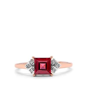 Malawi Garnet Ring with Diamond in 9K Rose Gold 1.09cts