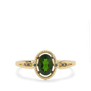 Chrome Diopside & Green Diamond 9K Gold Ring ATGW 0.84ct
