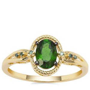 Chrome Diopside Ring with Green Diamond in 9K Gold 0.84cts