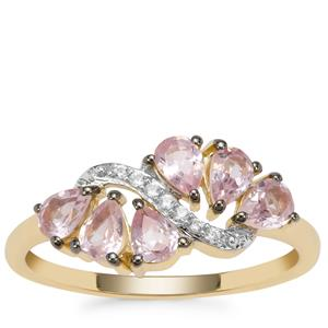 Pink Spinel Ring with White Zircon in 9K Gold 0.95cts