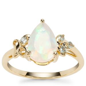 Ethiopian Opal Ring with Alexandrite in 9K Gold 1.15cts