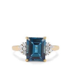 London Blue Topaz & White Zircon 9K Gold Ring ATGW 4.31cts