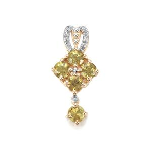 Ambanja Demantoid Garnet & Diamond 9K Gold Pendant ATGW 1.06cts