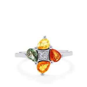 Rainbow Sapphire & Diamond Sterling Silver Ring ATGW 1.46cts