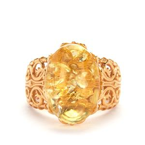 Baltic Champagne Amber Ring in Gold Tone Sterling Silver (17 x 12mm)