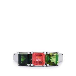 1.92ct Rainbow Tourmaline Sterling Silver Ring