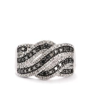 Black Diamond Ring with White Diamond in Sterling Silver 0.50ct