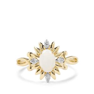 Coober Pedy Opal & Argyle Diamond 9K Gold Ring ATGW 0.45cts
