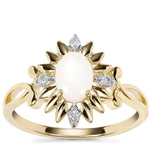 Coober Pedy Opal Ring with Argyle Diamond in 9K Gold 0.45cts