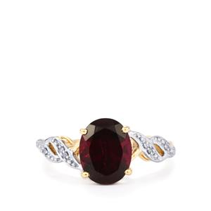 Rajasthan Garnet & Diamond 9K Gold Ring ATGW 3.07cts