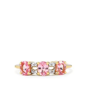 Natural Pink Spinel & White Zircon 9K Gold Ring ATGW 1.16cts