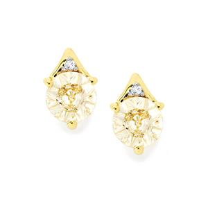 Lehrer QuasarCut Mutala Morganite Earrings with Diamond in 10k Gold 1.44cts