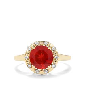 Red Labradorite & White Zircon 9K Gold Ring ATGW 1.61cts