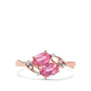 Padparadscha Sapphire & Diamond 10K Rose Gold Ring ATGW 1.21cts