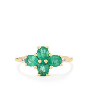Zambian Emerald & White Zircon 9K Gold Ring ATGW 1.31cts