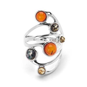 Baltic Cognac, Champagne Amber Ring with Baltic Green Amber in Sterling Silver