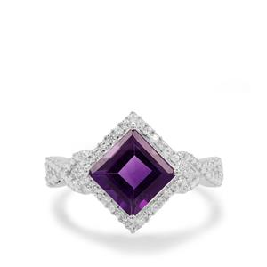 Zambian Amethyst Ring with White Zircon in Sterling Silver 2.75cts