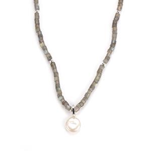 Labradorite & Baroque Cultured Pearl Sterling Silver Necklace