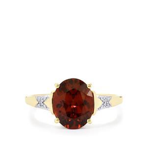 Zanzibar Zircon Ring with Diamond in 10k Gold 3.72cts
