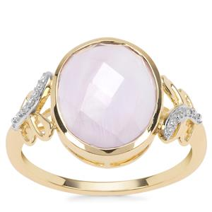Rose De France Amethyst Ring with Diamond in 9K Gold 4.17cts