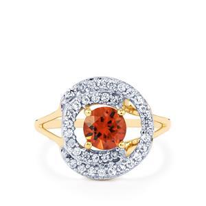 1.71ct Zanzibar Sunburst & White Zircon 10K Gold Ring