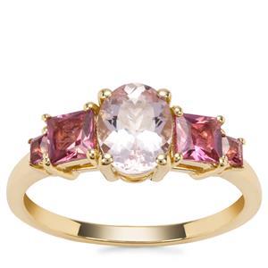 Natural Morganite Ring with Safira Tourmaline in 9K Gold 2.51cts
