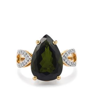 Green Tourmaline & Diamond 18K Gold Lorique Ring MTGW 6.56cts
