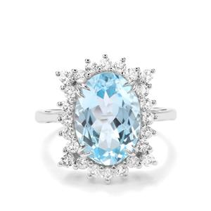 8.12ct Sky Blue & White Topaz Sterling Silver Ring