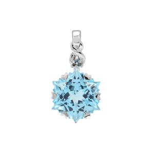 Wobito Snowflake Cut Sky Blue Topaz Pendant with Blue Diamond in 9K White Gold 9.35cts
