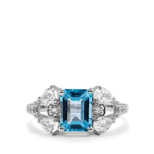 Swiss Blue Topaz Ring with White Topaz in Sterling Silver 3cts
