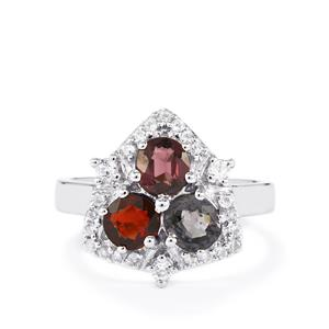 Burmese Multi-Color Spinel Ring with White Topaz in Sterling Silver 2.30cts