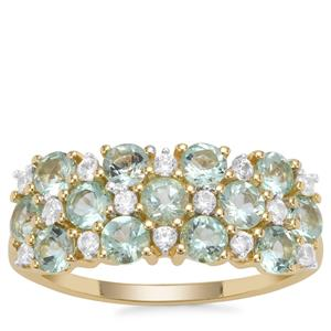 Aquaiba Beryl Ring with White Zircon in 9K Gold 1.52cts