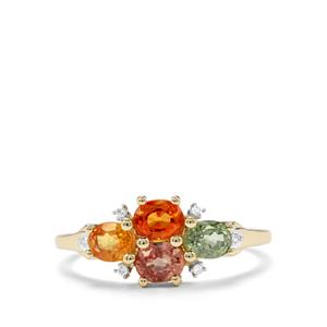 Multi-Colour Sapphire & Diamond 9K Gold Ring ATGW 1.72cts