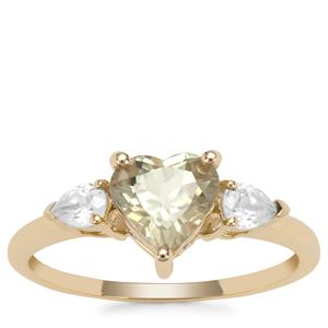 Csarite® Ring with White Zircon in 9K Gold 1.74cts