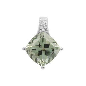 Prasiolite Pendant with White Zircon in Sterling Silver 4.27cts
