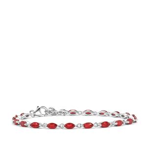 Malagasy Ruby Bracelet in Sterling Silver 6.94cts (F)