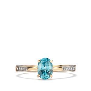Ratanakiri Blue Zircon Ring with White Zircon in 10k Gold 1.36cts