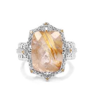 Bahia Rutilite & Yellow Sapphire Sterling Silver Ring ATGW 9.39cts