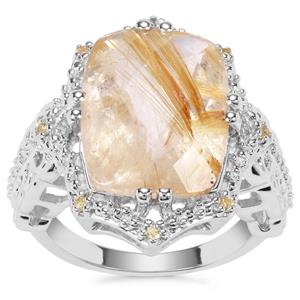 Bahia Rutilite Ring with Yellow Sapphire in Sterling Silver 9.39cts