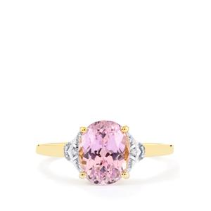 Mawi Kunzite Ring with Diamond in 10k Gold 2.67cts